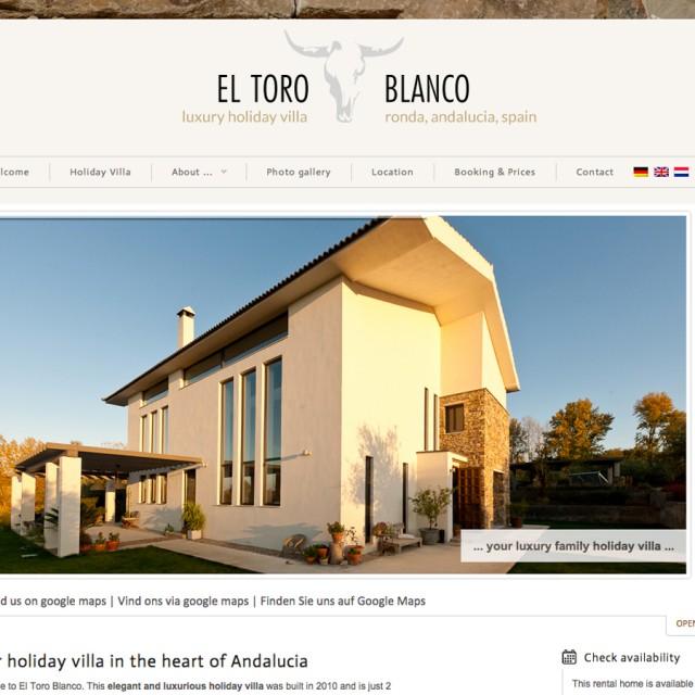 Webdesign El Toro Blanco - holiday villa Ronda