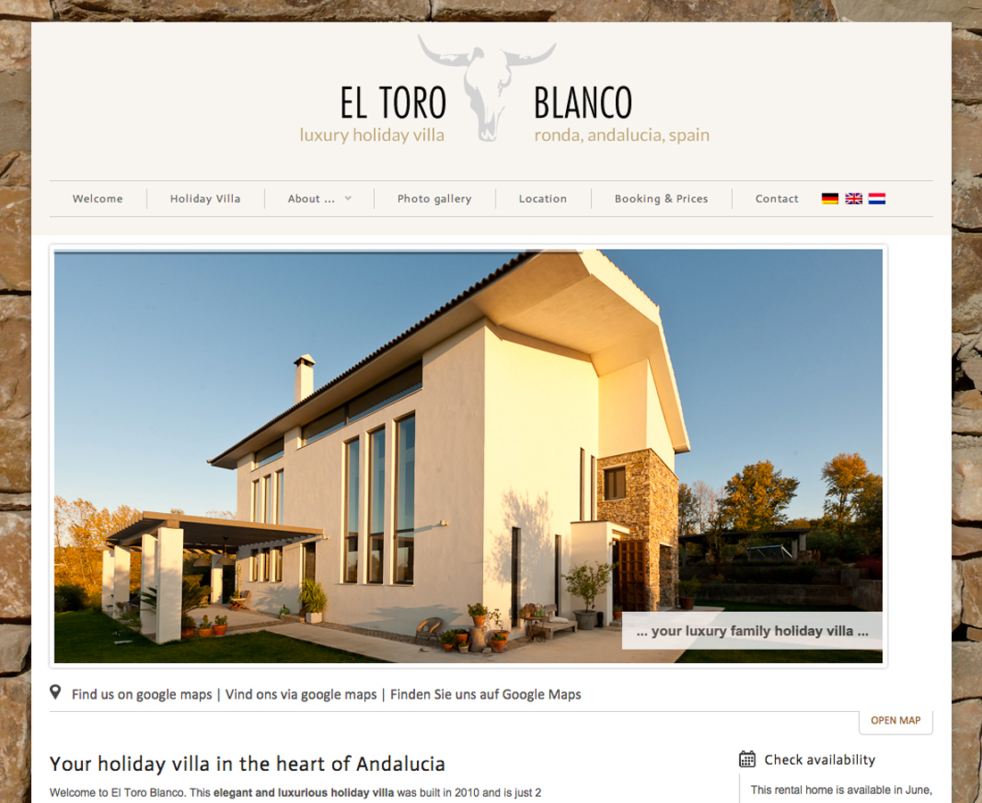 Webdesign El Toro Blanco - holiday villa Ronda