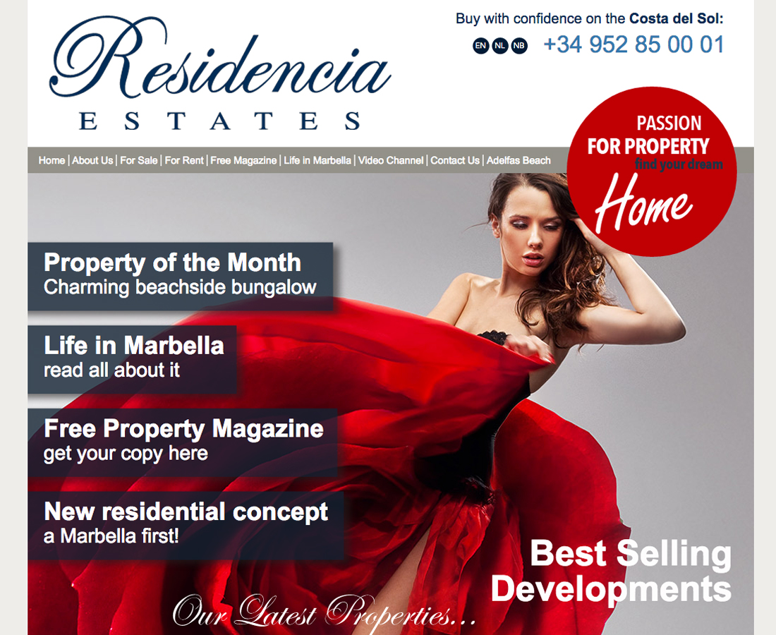 Webdesign Residencia Real Estate Elviria