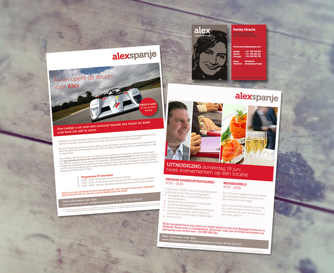 Campagnes, flyers en posters ontwerp voor Alex Vermogensbank