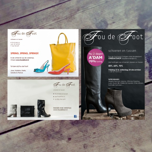 Advertentie en mailing design voor Fou de Foot
