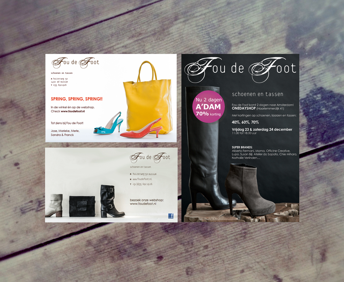Advertentie en mailing design voor Fou de Foot